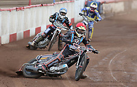 Heat 13: Ben Morley (red), Zach Wajtknecht (blue) and Georgie Wood (yellow)<br /> <br /> Photographer Rob Newell/CameraSport<br /> <br /> National League Speedway - Lakeside Hammers v Eastbourne Eagles - Lee Richardson Memorial Trophy, First Leg - Friday 14th April 2017 - The Arena Essex Raceway - Thurrock, Essex<br /> &copy; CameraSport - 43 Linden Ave. Countesthorpe. Leicester. England. LE8 5PG - Tel: +44 (0) 116 277 4147 - admin@camerasport.com - www.camerasport.com