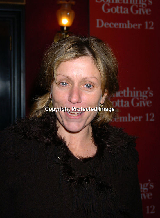 """Frances McDormand..at the World Premiere of """" Something's Gotta Give"""" on ..December 3,2003 at the Ziegfeld Theatre. PHoto by Robin Platzer, Twin Images"""