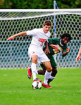12 September 2010: Cornell University Big Red defender Craig Dimbleby, a Senior from Brockport, NY, in action against the University of Vermont Catamounts at Centennial Field in Burlington, Vermont. The Catamounts edged out the Big Red 2-1. Mandatory Credit: Ed Wolfstein Photo