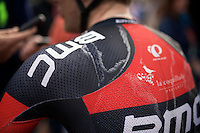 salty jersey for Jempy Drucker (LUX/BMC) post-race<br /> <br /> 113th Paris-Roubaix 2015