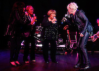 CLEVELAND - MAY 14:  (from left to right) Ronnie Spector, Darlene Love, Mavis Staples, and Cyndi Lauper perform during the Rock and Roll Hall of Fame 'It's Only Rock And Roll' benefit concert and Women Who Rock exhibit opening concert at the Cleveland Convention Center on Saturday May 14, 2011 in Cleveland, Ohio.  (Photo by Jared Wickerham/Jared Wickerham/Getty Images for Rock and Roll Hall of Fame and Museum)