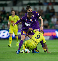7th February 2020; HBF Park, Perth, Western Australia, Australia; A League Football, Perth Glory versus Wellington Phoenix; David Ball  of Wellington Phoenix controls the ball in front of Neil Kilkenny of the Perth Glory
