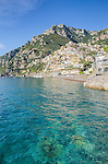 The crystal clear waters of Positano on the Amalfi Coast in Italy.