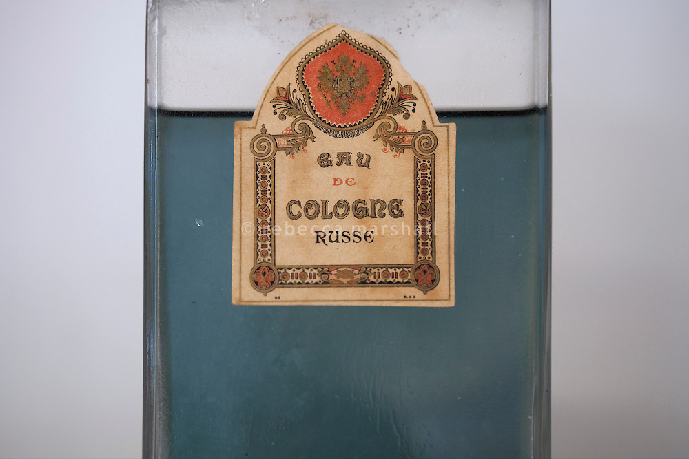 An old bottle of eau de cologne on display at the Galimard perfume factory and visitor centre, Grasse, France, 3 May 2013