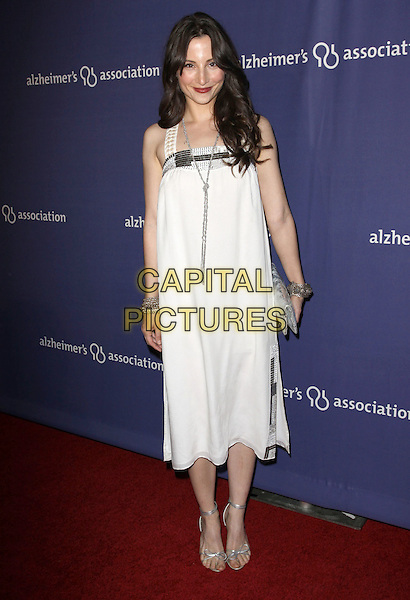"HEATHER McCOMB.18Th Annual ""A Night at Sardi's"" Benefitting The Alzheimer's Association held At The Beverly Hilton Hotel, Beverly Hills, California, USA..March 18th, 2010.full length white dress silver sandals clutch bag necklace.CAP/ADM/KB.©Kevan Brooks/AdMedia/Capital Pictures."