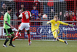 George Long of Sheffield Utd clears under pressure from Shola Ameobi of Fleetwood Town  - English League One - Fleetwood Town vs Sheffield Utd - Highbury Stadium - Fleetwood - England - 5rd March 2016 - Picture Simon Bellis/Sportimage