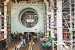 July 6, 2016. Greenville, South Carolina. <br />  At Test Stand 7 workers prepare the compressor validation rig for the arrival of a new gas turbine. The set up process takes about 12 weeks and then the turbine will be cycled through many tests, under different loads and conditions, before being cleared for shipping. <br />  At the General Electric Gas Turbine factory, engineers  design, produce, test and repair gas turbines for generating electricity. These turbines weigh more than 900,000 pounds and can create internal combustion temperatures up to 2,900 degrees F. Depending on the model, one of the GE turbines can produce enough electricity for half a million American households.