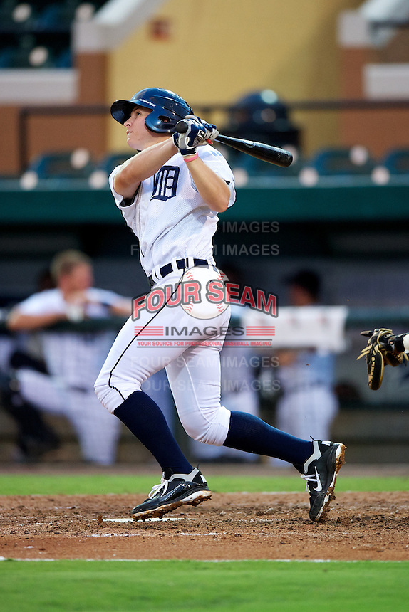 GCL Tigers Brett Harrison #1 during a Gulf Coast League game against the GCL Blue Jays at Joker Marchant Stadium on July 16, 2012 in Lakeland, Florida.  GCL Blue Jays defeated the GCL Tigers 4-3.  (Mike Janes/Four Seam Images)