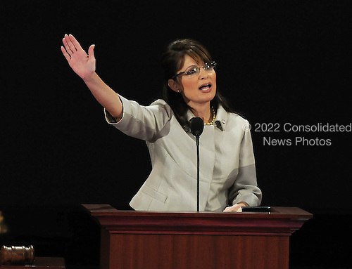 St. Paul, MN - September 3, 2008 -- Governor Sarah Palin of Alaska waves after accepting the Republican nomination as Vice President of the United States on day 3 of the 2008 Republican National Convention at the Xcel Energy Center in Saint Paul, Minnesota on Wednesday, September 3, 2008.Credit: Ron Sachs / CNP.(RESTRICTION: NO New York or New Jersey Newspapers or newspapers within a 75 mile radius of New York City)