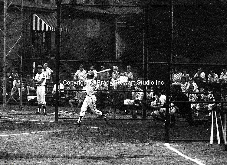 American Legion Baseball:  Bethel Park vs Arnold to advance to the state American Legion Playoffs.  Jack Snyder swinging and hitting during the game with Bob Colligan on deck.  Bob Purkey pitched a shut out (1-0) and the team advance to the state playoffs in Allentown PA - 1970.  Gary Biro on deck. Others in the photo; Mr and Mrs Bob Purkey Sr, Mike Stewart, Paul Hauck, Skip Uhl, and Craig Balmford.