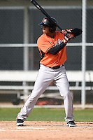 Outfielder Steven Bumbry (59) of the Baltimore Orioles organization during a minor league spring training camp day game on March 23, 2014 at Buck O'Neil Complex in Sarasota, Florida.  (Mike Janes/Four Seam Images)