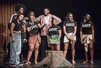 Apollo Night hosts Nina Reynoso '16 and Chance Ward '18 introduce the African Students Association entry. Occidental College students perform and compete during Apollo Night, one of Oxy's biggest talent showcases, on Friday, Feb. 26, 2016 in Thorne Hall. Sponsored by ASOC, hosted by the Black Student Alliance as part of Black History Month.<br /> (Photo by Marc Campos, Occidental College Photographer)