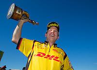 Oct 18, 2015; Ennis, TX, USA; NHRA funny car driver Del Worsham celebrates after winning the Fall Nationals at Texas Motorplex. Mandatory Credit: Mark J. Rebilas-USA TODAY Sports
