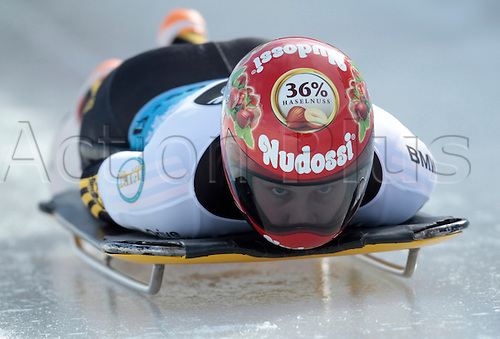 03.03.2015. Winterberg, Germany.  Skeleton-Pilot Tina Hermann (ger)  during a training run of the Bobsleigh & Skeleton World Championship in Winterberg, Germany, 3rd March 2015.