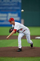 Auburn Doubledays pitcher Lucas Knowles (14) during a NY-Penn League game against the Batavia Muckdogs on September 2, 2019 at Falcon Park in Auburn, New York.  Batavia defeated Auburn 7-0.  (Mike Janes/Four Seam Images)