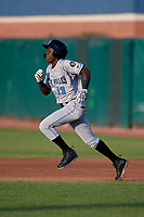 Hudson Valley Renegades Luis Arcendo (13) running the bases during a NY-Penn League game against the Mahoning Valley Scrappers on July 15, 2019 at Eastwood Field in Niles, Ohio.  Mahoning Valley defeated Hudson Valley 6-5.  (Mike Janes/Four Seam Images)