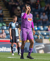 Reuben Reid of Plymouth Argyle celebrates his goal during the Sky Bet League 2 match between Wycombe Wanderers and Plymouth Argyle at Adams Park, High Wycombe, England on 12 September 2015. Photo by Andy Rowland.