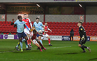 Fleetwood Town's Harvey Saunders scores his sides 1st goal<br /> <br /> Photographer Dave Howarth/CameraSport<br /> <br /> Leasing.com Trophy Northern Section Round Three - Fleetwood Town v Accrington Stanley - Tuesday 7th January 2020 - Highbury Stadium - Fleetwood<br />  <br /> World Copyright © 2018 CameraSport. All rights reserved. 43 Linden Ave. Countesthorpe. Leicester. England. LE8 5PG - Tel: +44 (0) 116 277 4147 - admin@camerasport.com - www.camerasport.com