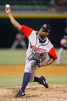 Gwinnett Braves relief pitcher Juan Jaime (46) in action against the Charlotte Knights at BB&T Ballpark on April 16, 2014 in Charlotte, North Carolina.  The Braves defeated the Knights 7-2.  (Brian Westerholt/Four Seam Images)
