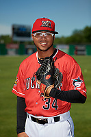 Batavia Muckdogs Geremy Galindez (34) poses for a photo before a NY-Penn League game against the West Virginia Black Bears on June 26, 2019 at Dwyer Stadium in Batavia, New York.  Batavia defeated West Virginia 4-2.  (Mike Janes/Four Seam Images)