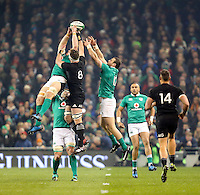 19th November 2016 | IRELAND vs NEW ZEALAND<br /> <br /> Sean O&rsquo;Brien and Kieran Read challenge for this high ball during the Autumn Series International clash between Ireland and New Zealand at the Aviva Stadium, Lansdowne Road, Dublin,  Ireland. Photo by John Dickson/DICKSONDIGITAL