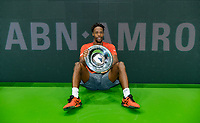 Rotterdam, The Netherlands, 17 Februari 2019, ABNAMRO World Tennis Tournament, Ahoy,  Winner Gael Monfils (FRA) with the trophy <br /> Photo: www.tennisimages.com/Henk Koster