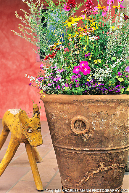 Container expert Raquel Hughes of Plant Parenthood made an exciting collection of flowers more interesting by adding a funky wooden figure and placing all in the company of a pink wall in Nancy Dickensen's Santa Fe garden.
