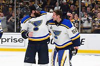 June 12, 2019: St. Louis Blues goaltender Jordan Binnington (50) and left wing Pat Maroon (7) celebrate at game 7 of the NHL Stanley Cup Finals between the St Louis Blues and the Boston Bruins held at TD Garden, in Boston, Mass.  The Saint Louis Blues defeat the Boston Bruins 4-1 in game 7 to win the 2019 Stanley Cup Championship.  Eric Canha/CSM.