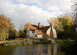 Willy Lot's House Cottage, Flatford Mill, Suffolk, England. An ancient farmhouse made famous by a painting by artist John Constable.