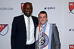 14 January 2016: Jack Harrison (ENG) (right), with NYCFC head coach Patrick Vieira (FRA), was selected with the #1 overall pick by the Chicago Fire then traded during the draft to New York City FC. The 2016 MLS SuperDraft was held at The Baltimore Convention Center in Baltimore, Maryland as part of the annual NSCAA Convention.