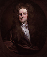 Painting of Sir Isaac Newton by Sir Godfrey Kneller<br /> <br /> 	Sir Isaac Newton (1643&ndash;1727) ; English physicist, mathematician, astronomer, natural philosopher, alchemist, and theologian. His law of universal gravitation and three laws of motion laid the groundwork for classical mechanics.