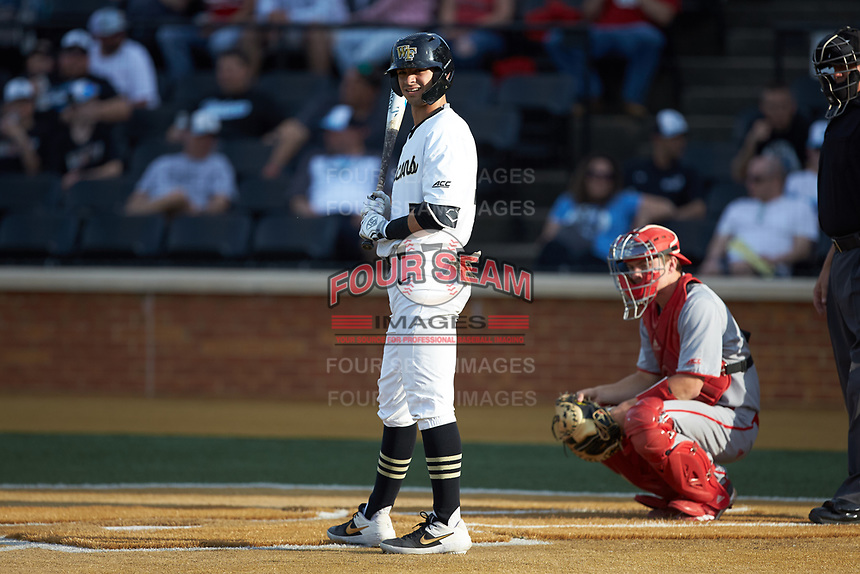 Patrick Frick (5) of the Wake Forest Demon Deacons at bat against the North Carolina State Wolfpack at David F. Couch Ballpark on April 18, 2019 in  Winston-Salem, North Carolina. The Demon Deacons defeated the Wolfpack 7-3. (Brian Westerholt/Four Seam Images)