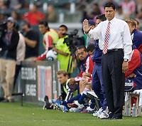 CD Chivas USA head coach Martin Vasquez with hand signals for his players. The Philadelphia Union and CD Chivas USA played to 1-1 draw at Home Depot Center stadium in Carson, California on Saturday evening July 3, 2010..