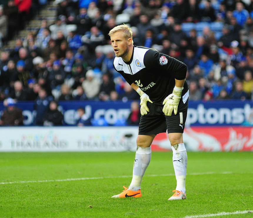 Leicester City's Kasper Schmeichel <br /> <br /> Photo by Chris Vaughan/CameraSport<br /> <br /> Football - The Football League Sky Bet Championship - Leicester City v Burnley - Saturday 14th December 2013 - King Power Stadium - Leicester<br /> <br /> &copy; CameraSport - 43 Linden Ave. Countesthorpe. Leicester. England. LE8 5PG - Tel: +44 (0) 116 277 4147 - admin@camerasport.com - www.camerasport.com
