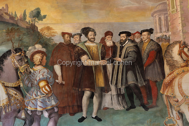 Fresco detail of the Truce of Nice, 1538, between Francois I, King of France, 1494-1547, and Charles V, Holy Roman Emperor and King of Spain, 1500-58, negotiated by Pope Paul III (Alexander Farnese), 1468-1549, painted 1560-66 by Taddeo Zuccari, 1529-66, and Federico Zuccari, 1542-1609, in the Anteroom of the council or Anticamera del Concilio, also known as the Room of the Council of Trent, in the Villa Farnese or Villa Caprarola, a 16th century Renaissance and Mannerist fortified villa designed by Giacomo Barozzi da Vignola and built 1559-73 for the Farnese family under Cardinal Alessandro Farnese, in Caprarola, Viterbo, Lazio, Italy. The Villa Farnese is now owned by the state and run by the Polo Museale del Lazio. Picture by Manuel Cohen