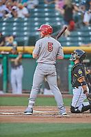 Patrick Wisdom (5) of the Memphis Redbirds bats against the Salt Lake Bees at Smith's Ballpark on July 24, 2018 in Salt Lake City, Utah. Memphis defeated Salt Lake 14-4. (Stephen Smith/Four Seam Images)