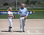 Western Nevada Wildcats' Carlee Beck talks with WNC President Chet Burton before he throws out the first pitch at Edmonds Sports Complex, in Carson City, Nev., on Friday, April 18, 2014.<br /> Photo by Cathleen Allison/Nevada Photo Source