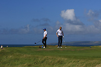Andrew McCormack (Castletroy) and Darren O'Sullivan (Tralee) on the 6th tee during the Munster Final of the AIG Barton Shield at Tralee Golf Club, Tralee, Co Kerry. 12/08/2017<br /> Picture: Golffile | Thos Caffrey<br /> <br /> <br /> All photo usage must carry mandatory copyright credit     (&copy; Golffile | Thos Caffrey)