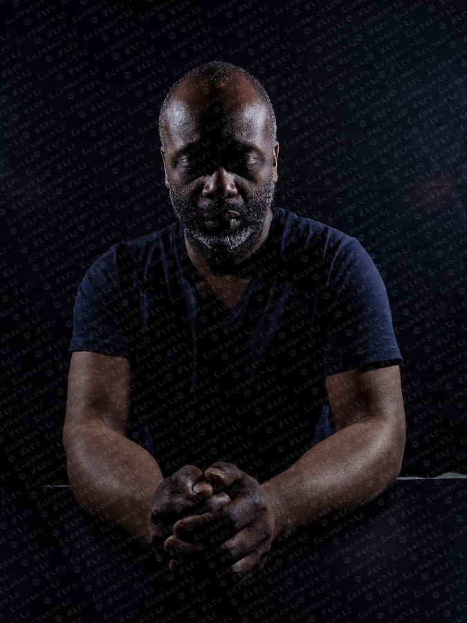 "Theaster Gates, an American Social Practice installation artist from Chicago, Illinois, poses for a Portrait in his ""Black Archive "" exhibition at the Kunstahaus Bregenz."