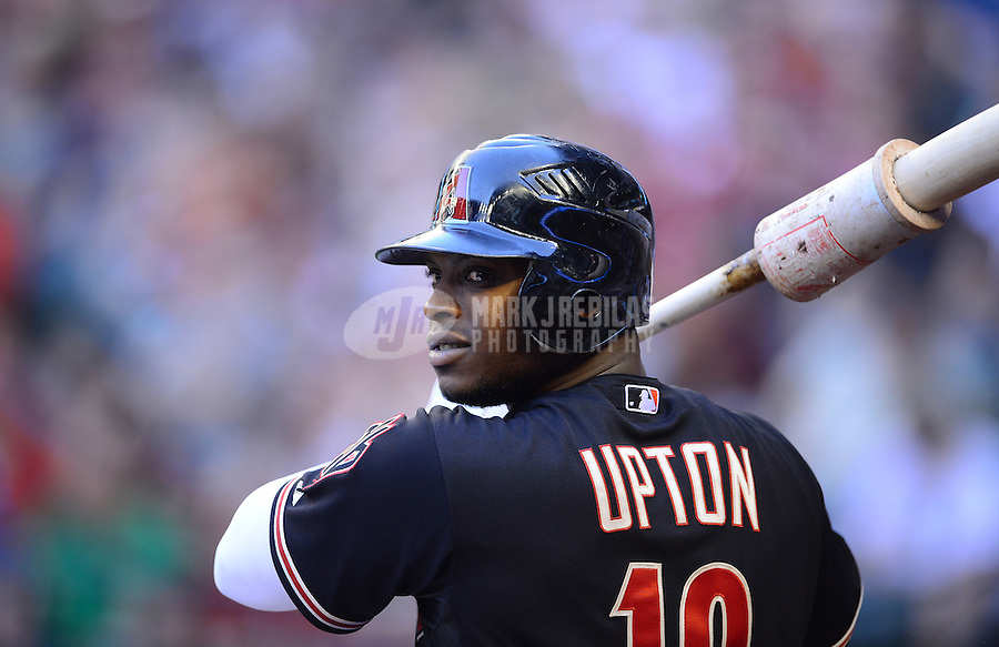 Apr. 21, 2012; Phoenix, AZ, USA; Arizona Diamondbacks outfielder Justin Upton in the on deck circle in the first inning against the Atlanta Braves at Chase Field. Mandatory Credit: Mark J. Rebilas-