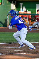 Mitchell Hansen (43) of the Ogden Raptors at bat against the Idaho Falls Chukars in Pioneer League action at Lindquist Field on June 28, 2016 in Ogden, Utah. The Raptors defeated the Chukars 12-11. (Stephen Smith/Four Seam Images)