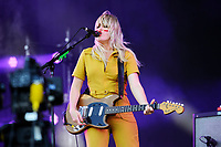 LONDON, ENGLAND - JUNE 30: Lindsey Troy of 'Deap Vally' performing at Finsbury Park on June 30, 2018 in London, England.<br /> CAP/MAR<br /> &copy;MAR/Capital Pictures