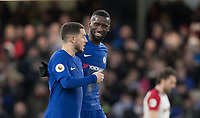 Antonio Rudiger of Chelsea with goalscorer Eden Hazard of Chelsea during the Premier League match between Chelsea and West Bromwich Albion at Stamford Bridge, London, England on 12 February 2018. Photo by Andy Rowland.
