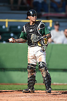Clinton LumberKings catcher Christian Carmichael (33) during a game against the Beloit Snappers on August 17, 2014 at Ashford University Field in Clinton, Iowa.  Clinton defeated Beloit 4-3.  (Mike Janes/Four Seam Images)
