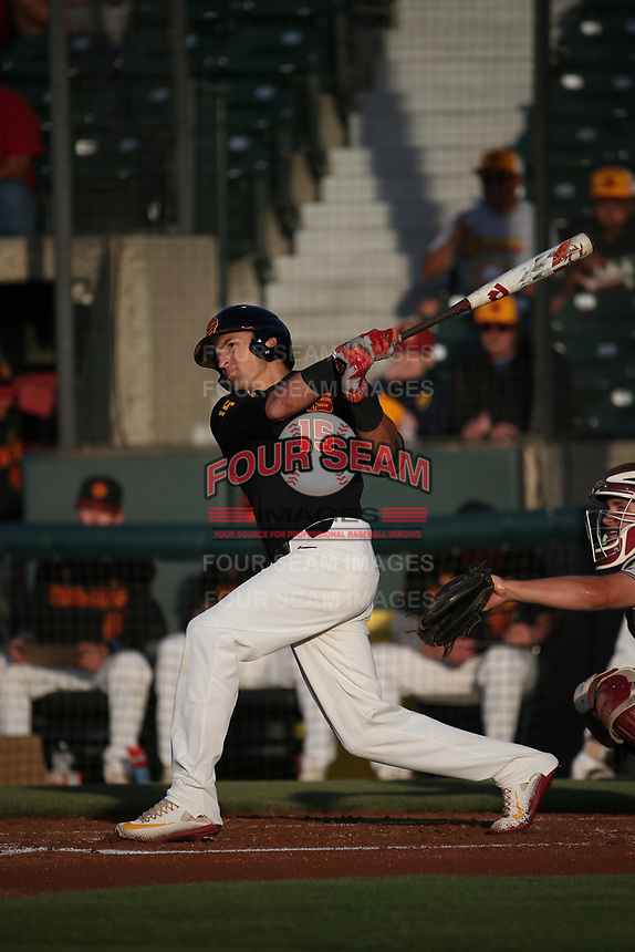 Corey Dempster (15) of the Southern California Trojans bats against the Stanford Cardinal at Dedeaux Field on April 6, 2017 in Los Angeles, California. Southern California defeated Stanford, 7-5. (Larry Goren/Four Seam Images)
