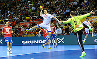 21.01.2013 World Championshio Handball. Match between Spain vs Serbia (31-20) at the stadium Principe Felipe. The picture show  Gedeon Guardiola Villaplana (Pivot of Spain).