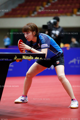 /Suh Hyowon (KOR), <br /> APRIL 8, 2018 - Table Tennis : <br /> 31st LION ITTF ATTU Asian Cup Yokohama 2018 <br /> Women's Singles 7th place match <br /> at Yokohama Cultural Gymnasium, Kanagawa,  Japan. <br /> (Photo by AFLO SPORT)