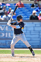 Myrtle Beach Pelicans outfielder Royce Bolinger (7) at bat during a game against the Wilmington Blue Rocks on April 27, 2014 at Frawley Stadium in Wilmington, Delaware.  Myrtle Beach defeated Wilmington 5-2.  (Mike Janes/Four Seam Images)