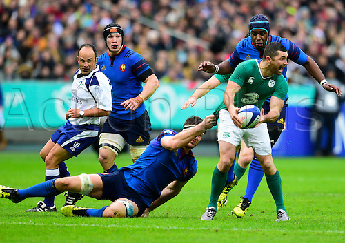 13.02.2016. Stade de France, Paris, France. 6 Nations Rugby international. France versus Ireland.  Rob Kearney ( Ireland ) held back by Alexandre Flanquart ( France )