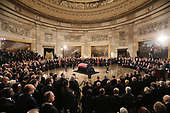 The casket of late U.S. President George H.W. Bush arrives inside the U.S. Capitol Rotunda where it will lie in state in Washington, U.S., December 3, 2018. REUTERS/Jonathan Ernst/Pool